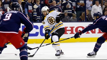 Pastrnak repays Blue Jackets for nasty takedown with a punch to the scoreboard