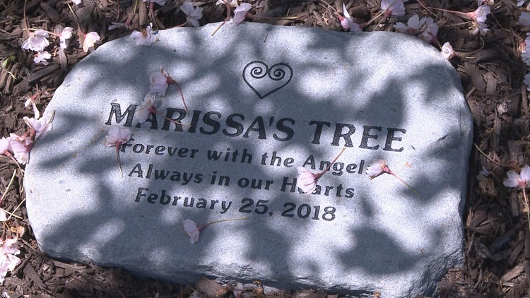 The stone placed in honor of Marissa at her old school, New Windsor Academy.