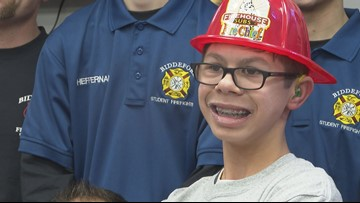 Biddeford Fire Dept. gives Maine boy with special needs surprise 13th birthday party