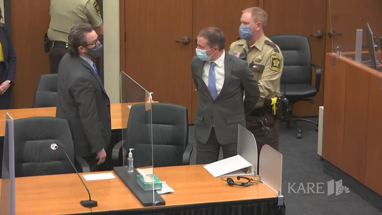 Derek Chauvin is led out of courtroom
