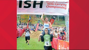 Wife-carrying competition turns 20 in Maine
