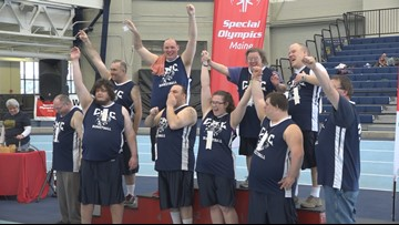 Athletes compete in the Special Olympics Basketball Tournament