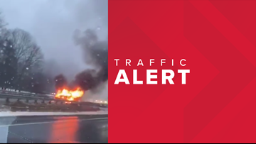 Car fire closes I-295 southbound