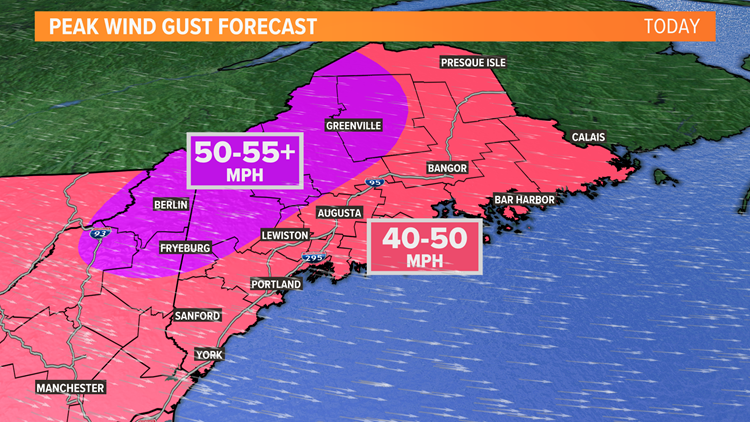 Winds will howl in Maine today
