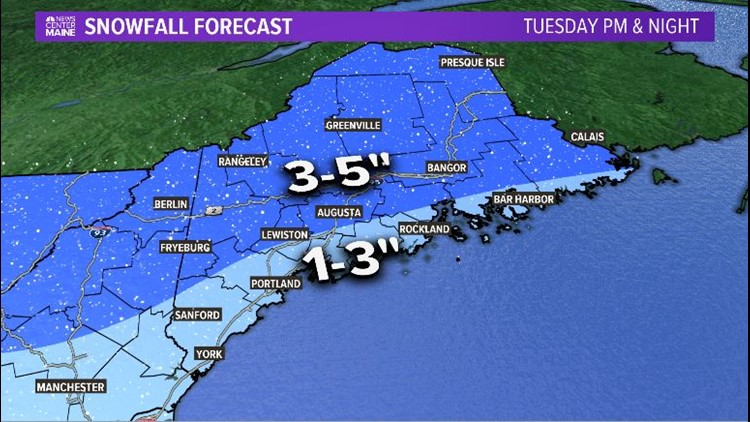 Forecast Snowfall Tuesday