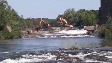 Saccarappa Falls dam demo begins in Westbrook on Presumpscot