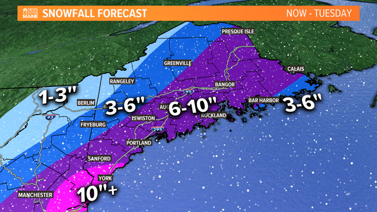 Total Snowfall Forecast Through Tuesday