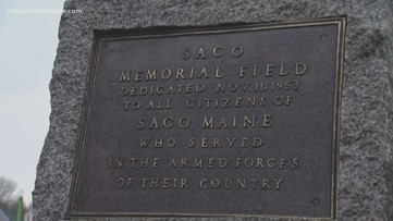 Lost and found plaque in Saco