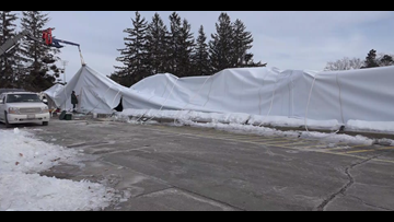 Crews work to get UMaine dome back up after another collapse