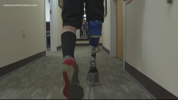 Boy with prosthetic leg throws first pitch at Sea Dogs game