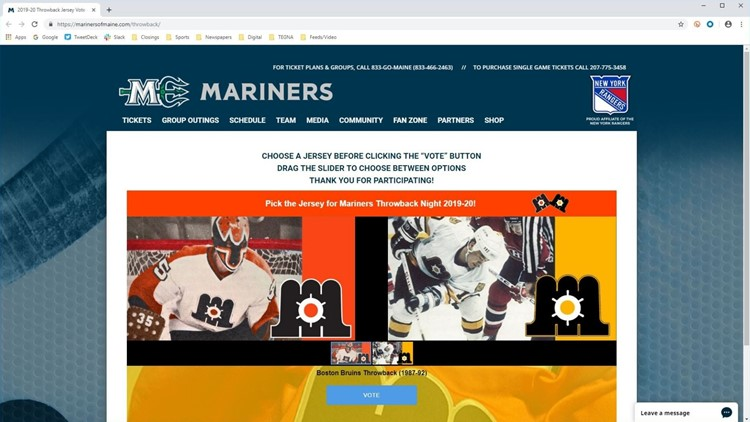Maine Mariners throwback jersey vote