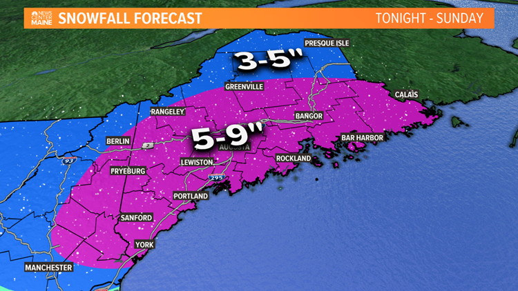 "Burst of snow tonight; widespread 5-9"" expected"