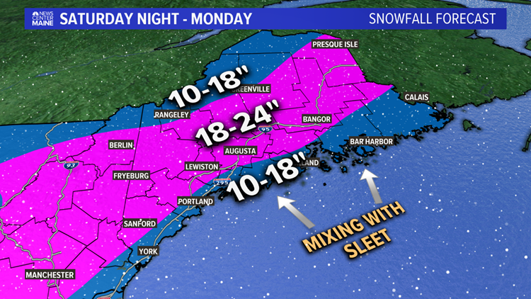 Double-digit snow totals for most of Maine. Some could see two feet