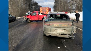 New Hampshire man drives distracted, hits State Police cruiser