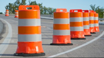 Closure of I-295 northbound passing lane in Topsham
