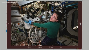 Maine astronaut Jessica Meir conducting experiments on ISS