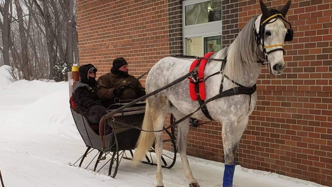 Dashing to Maine McDonalds in a one-horse open sleigh