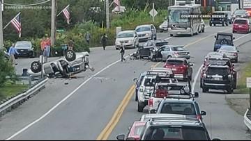 Six people escape three vehicle crash in Trenton