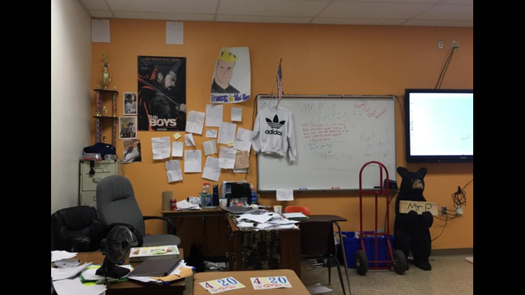 Mr. Pranses' classroom filled with notes from students following his leave