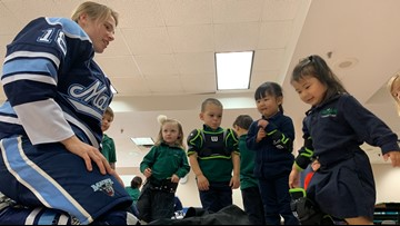 UMaine Women's Ice Hockey team passes on life lessons to preschoolers