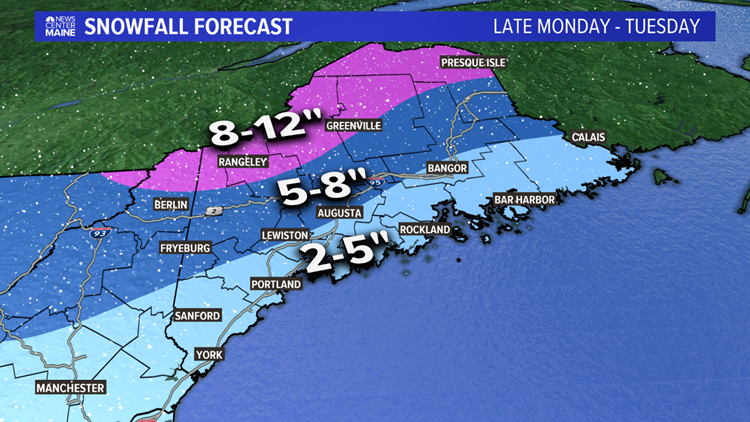 Snow and sleet expected in Maine with messy Tuesday storm