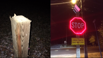 New solar-powered stop sign cut down with saw, deputies looking for culprit