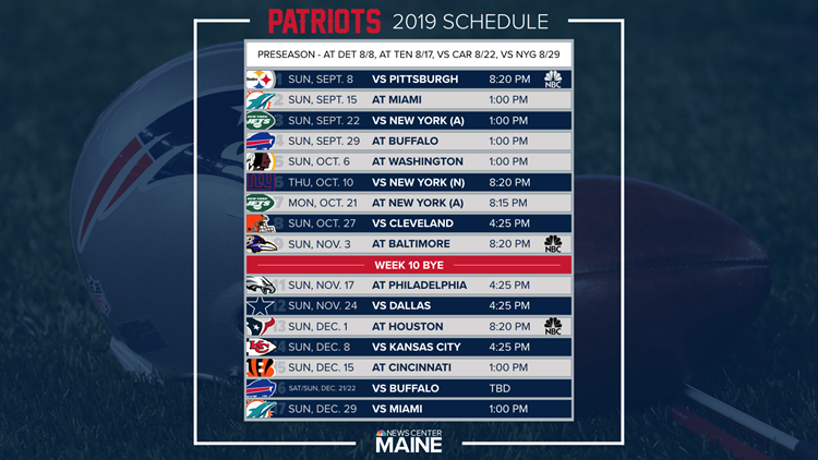 Patriots Schedule 2019 Patriots schedule for 2019 regular season released