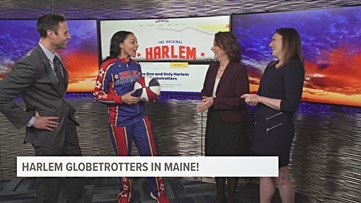The Harlem Globetrotters are in Maine; Swish Sutton visits the studio!