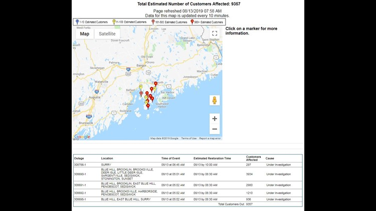 Eastern Maine Power Outages