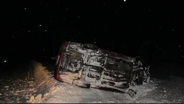 Van Buren teen rolls car after swerving to avoid ice chunk in road