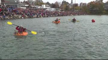 Ryan Breton takes a spill at the Pumpkinfest Regatta