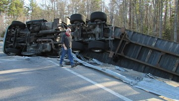 Turnpike on-ramp in Scarborough closed due to overturned tractor trailer filled with french fries