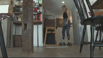 Cafe owner laces up roller skates during her shifts
