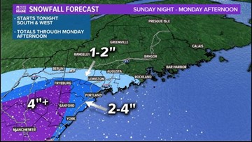 Long duration winter storm in Maine, most snow falls Tuesday