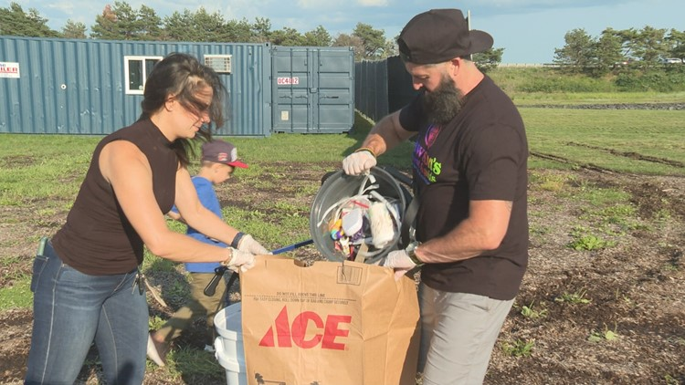 Trash pick-up at Thompson's Point highlights Maine's effort to fight plastic pollution