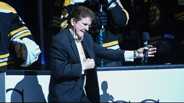 A fist-pumping farewell to Bruins icon, Rene Rancourt