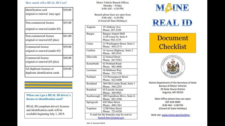 Maine REAL ID checklist