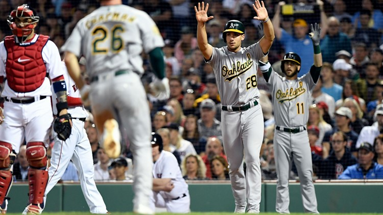 Rick Porcello gave up five runs and nine hits over six innings to take the loss for the Red Sox in their 6-5 defeat at the hands of the A's