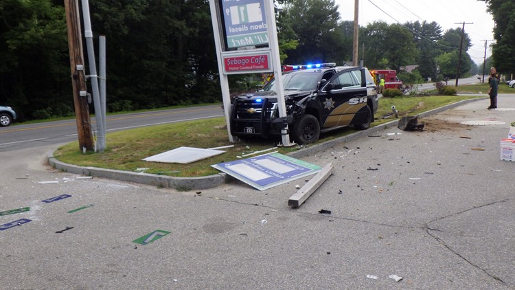 A Cumberland County Sheriff's Department cruiser collided with another vehicle on Tandberg Trail in Windham, while responding to a separate call Sunday morning