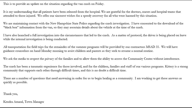 Statement released by Kittery Town Manager Saturday morning