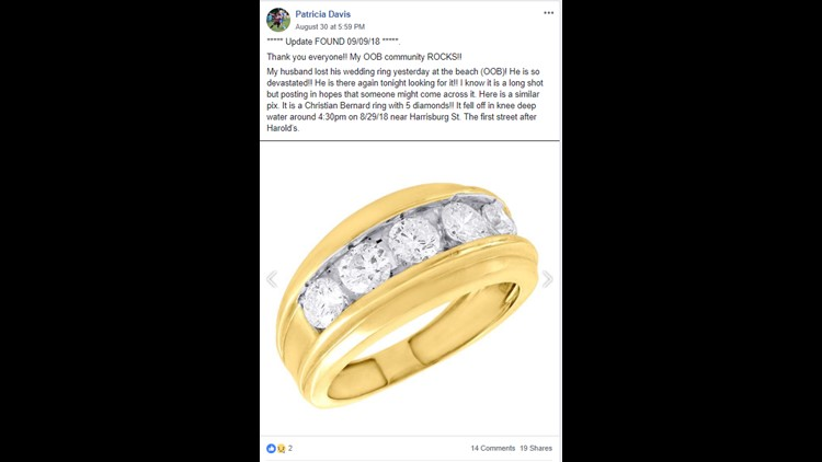 Patricia Davis asks for public's help in locating lost wedding ring on Facebook.