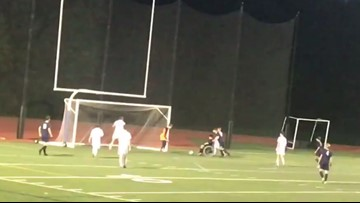 A lesson in good sportsmanship lights up the soccer field in Yarmouth