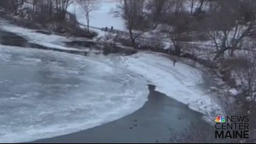 A couple people tried to walk on the Westbrook ice disc