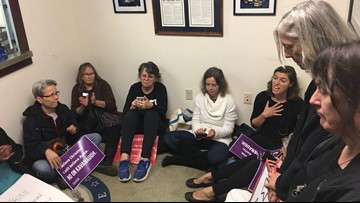 Anti-Kavanaugh protesters 'sit-in' at Susan Collins' Portland office