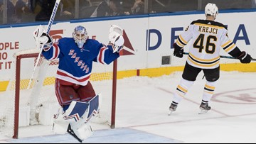 Three-goal swing by Rangers turns third-period Bruins' lead into a loss