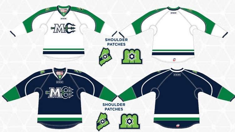 A close-up look at the design elements of both the home and away jerseys for the Maine Mariners