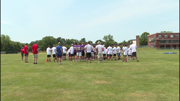 Former Patriots player visits football camp for Maine kids