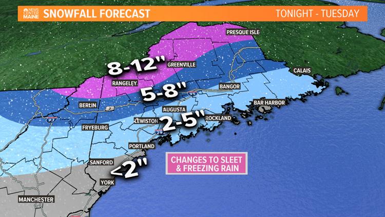 Tuesday storm to bring snow, sleet, freezing rain to Maine