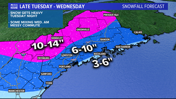 Updated Forecast: Snow hits Tuesday night, messy mix Wednesday morning