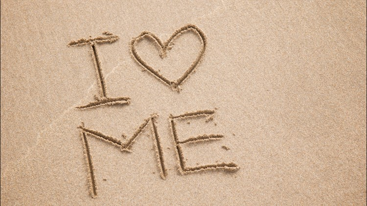 Message in the sand stands for self-love